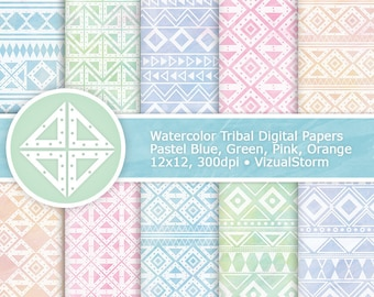 Watercolor Tribal Digital Paper Printable Watercolor Paper Pastel Tribal Scrapbooking Native Aztec Patterns Pastel Watercolour Backgrounds