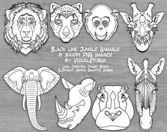 Black White Safari Animal Clipart Jungle Graphics Zoo Animal Faces Coloring Graphics Lion Cheetah Monkey Elephant Giraffe Rhino Hippo Zebra