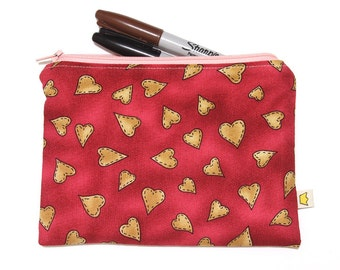 Heart pencil case zip pouch, red zippered pouch, cosmetic pouch