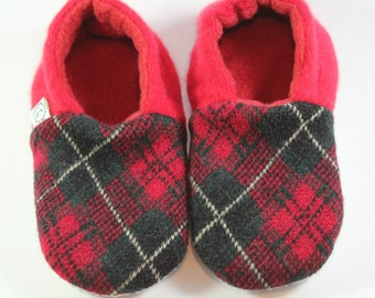 Toddler Slippers- Red Baby Shoes- Preppy Baby Outfit- Natural Slippers- Plaid Slippers