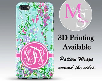 Monogram iPhone 7 Personalized Phone Case Lilly Pulitzer Inspired Monogrammed iPhone Case, Iphone 4, 4S iPhone 5, 5S, 5C iPhone 6 Plus #2741
