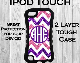 Monogram iPod 6 ipod 5 Touch 2 Layer Tough Case Personalized iPod Case Purple & Pink Chevron Monogrammed 2 Layer Protective iPod Case #2631