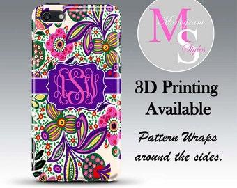 Monogram iPhone Case Personalized Phone Case Vera Inspired Monogrammed iPhone Case, Iphone 4, 4S Iphone 5, 5C iPhone 6, iPhone 6S Plus #2671