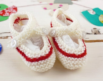 cutest baby booties // hand-knit // white with red stripe