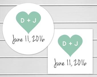 Wedding Stickers, Wedding Favor Stickers, Envelope Seals, Calendar Stickers, Save The Date Stickers (#129)