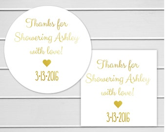 Foiled Bridal Shower Favor Stickers, Thanks for Showering Sticker, Silver Foil Bridal Shower Stickers, Bridal Shower Wedding Labels (#229)
