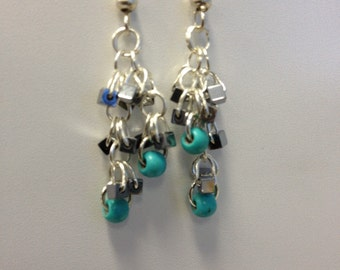 Silver Turquoise Chandelier Earrings