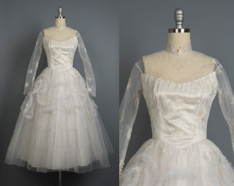 Vintage 1950s wedding dress // 50s wedding gown // 50's fairy wedding dress