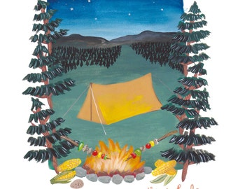 SALE* The Good Life Camping Art Print, A3