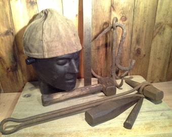 Vintage Artisan Blacksmiths Hat and Tools