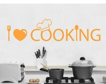 Summer Sale - 20% OFF I Love Cooking kitchen wall decal, sticker, mural, vinyl wall art