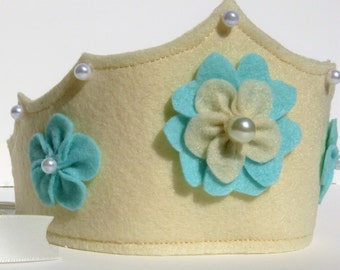 Ivory Felt Crown with seafoam handmade flowers, felt crown, pretend play, Halloween costume, girl's costume