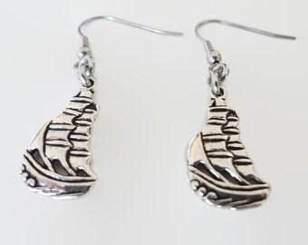 Buccaneer Ship Earrings - Pirate Ship earrings - Boat Jewelry - Dangle Earrings - Charm Earrings - Silver Tone Earrings