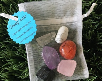 Trump - ease  crystals pouch - dispels negativity from Trump and his supporters - dispels anger - protection - reiki charged - 2016 election