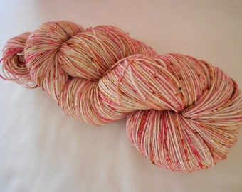 Strawberry Shortcake Hand Dyed Superwash Merino Sock Yarn