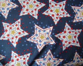 Patriotic Starburst Cotton Fabric Sold by the Yard