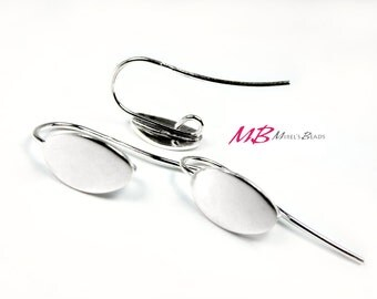1 Pair Sterling Silver Oval Earring Hooks, Oval Ear Wires, 23mm