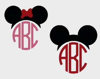 Mickey and Minnie Mouse Monogram Toppers embroidery file in 3 sizes (Font NOT included) - INSTANT DOWNLOAD - Item # 2033