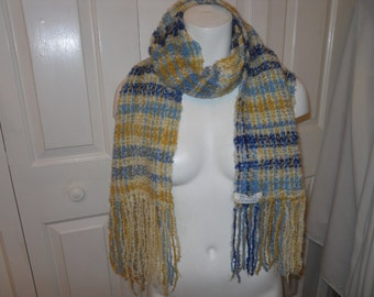 vintage hand woven fringed scarf