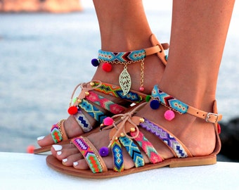 "sandals, gladiator leather sandals, friendship bracelets, pom pom sandals ""Betty Boop"""