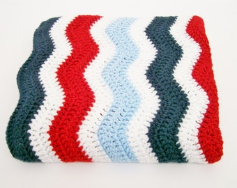 Baby Boy Afghan, Baby Girl Afghan, Red, White and Blue Baby Afghan, Patriotic Baby Afghan, Toddler Blanket