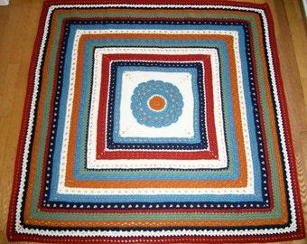 Crocheted Afghan, Lapghan, or Throw, Multi-Color Blanket