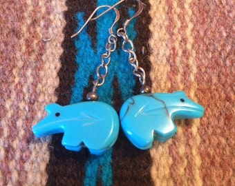 Turquoise and sterling zuni bear earrings