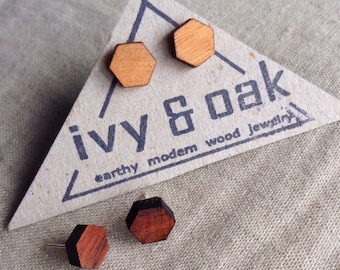 Geometric Earrings||Honeycomb Earrings|| Hexagon Wood Earrings||modern jewelry