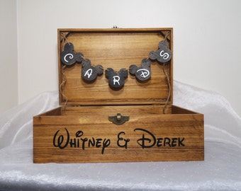 Personalized Disney Card Box, Disney Wedding Card Box, Disney Wedding Box, Disney Wedding, Rustic Wedding, Wooden Wedding Card Box, Disney