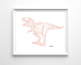"Nursery Wall Art Light Pink Dinosaur, Printable Wall Art, 8""x10"", Gender Neutral, Wall Decor"