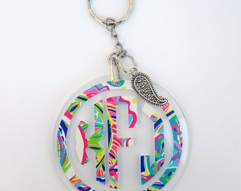 Personalized Lilly Monogram Keychain with Choice of Charm or Tassel