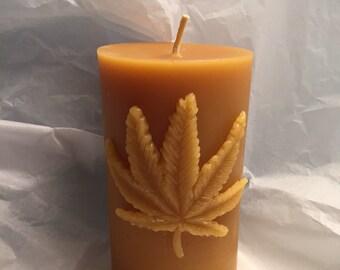 Marijauna Leaf Beeswax Candle