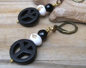 Black peace earrings, Peace sign earrings, Black peace sign, Peace jewelry, Hippie earrings, peace charm earrings, love and peace earrings