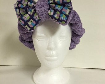 Light Purple and Owl Foofie Spa Headband- holds hair back when washing your face!