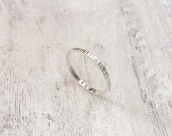 Thin Birch-Wood Style Ring with Secret Message