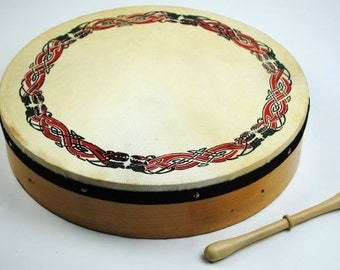 ProKussion 16-Inch Original Irish Bodhran with Celtic Design and Rosewood Beater