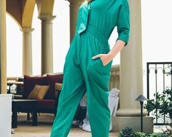 Vintage 1980s Emerald Green Joan Walters Jumpsuit