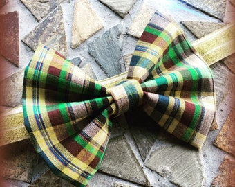 Plaid / Madris / Flannel Yellow Green Brown Blue and Tan Fall Headband and Bow Set