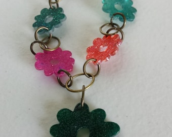 Colorful Flower Anklet with Flower Charm