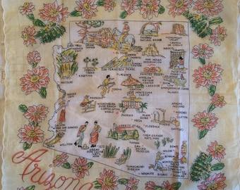 Vintage Handkerchief Arizona Souvenir Yellow