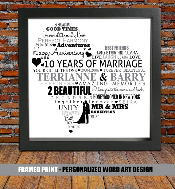 10 Years Wedding Anniversary Gift: Personalized 10th Wedding Anniversary 10 Year By BlingPrints