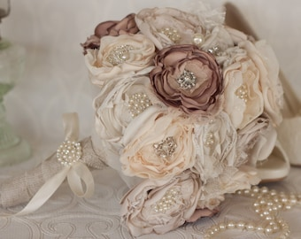 Vintage Inspired Brooch Wedding Bouquet, Ivory, Cream and Dusty Pink, Satin, chiffon and Burlap Bouquet