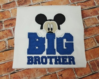 Mickey Mouse Big Brother shirt, Mickey brother embroidery shirt appliqué shirt