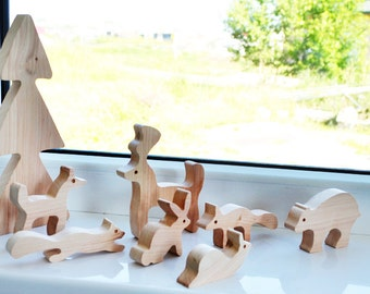 Waldorf Animal toys - montessori wood toys - Wooden Puzzle - Educational toys - Puzzle Toy - Kids gifts Wooden animals forest animal toys