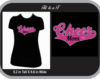 Cheer Mom Glitter T-Shirt, Cheer Mom Gift, Cheer Mom Spiritwear, Cheerleading Mom Shirt, Proud Cheer Mom T-Shirt