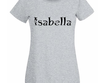 Womens Personalized Text T-Shirt in Flowers Style / Full Name Words clothing Shirts / Make your own Personal Unique tShirt + Free Decal Gift