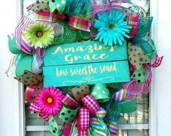 Everyday Deco Mesh Amazing Grace Wreath~Spring Front Door Wreath~ Amazing Grace~Scripture Decor~Mint Teal~ Easter Door Decoration