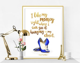 Fashion Print. Fashion Illustration. Carrie Bradshaw Quote Print. Watercolor artwork. Fashion Illustration. Modern Home Décor.