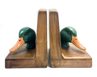 Vintage Chalkware Signed Duck Bookends, Plaster Mid Century Mallard Bookends