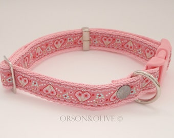 Hearts and Flowers (Pink Glittery) Dog Collar  - Available in 4 sizes (XS, S, M, L)